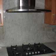 Granite kitchen worktop and splashback example